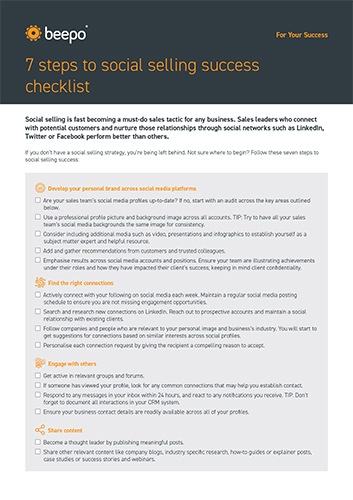 7 steps to social selling success checklist