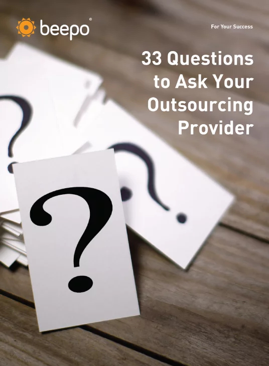Beepo's 33 Questions to Ask Your Real Estate Outsourcing Provider eBook cover