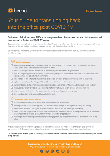 Returning to the office post COVID-19 checklist